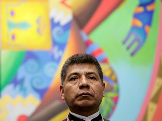 Bolivia's former Foreign Minister Fernando Huanacuni attends a meeting at the presidential palace La Casa Grande del Pueblo in La Paz