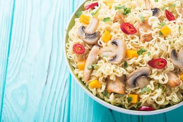 Instant noodles in bowl
