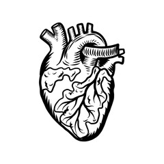 Tattoo heart icon. Hand drawn illustration of tattoo heart vector icon for web design