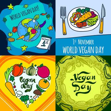 Vegan day banner set. Hand drawn set illustration of vegan day vector banner for web design
