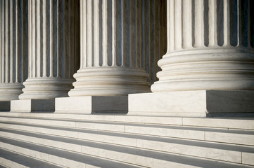 Abstract view of neoclassical fluted columns, bases and steps of the US Supreme Court building in Washington DC Fototapete