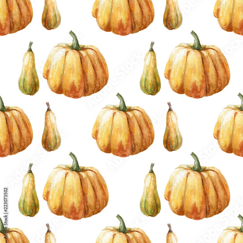 watercolor seamless pattern with pumpkin on the black background