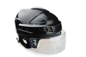 Black Ice Hockey Helmet with Visor, Isolated on White Background