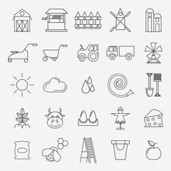 Set of black outline simple icons village theme. Organic Farm.