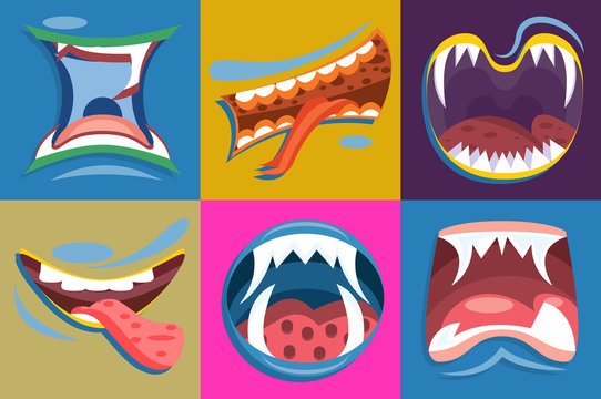 Cartoon cute monster mouths vector set. Funny facial expression.