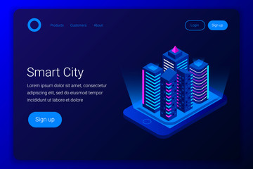 Smart city isometric concept.