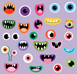 Monster mouths and eyes, fun vector graphic design elements