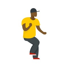 Hip hop dancer icon. Flat illustration of hip hop dancer vector icon for web design