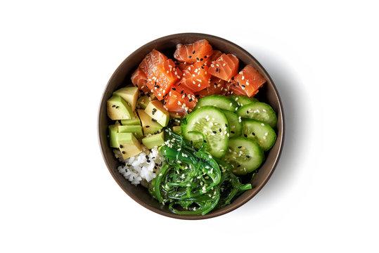 poke bowl with fresh salmon