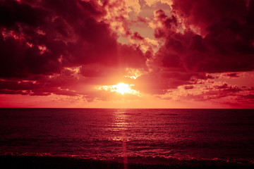 Colorful sunset over ocean
