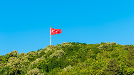 Turkish flag waving in blue sky