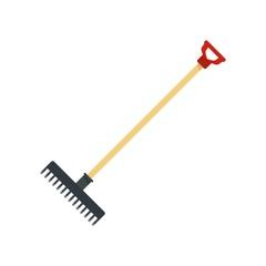 Garden rake icon. Flat illustration of garden rake vector icon for web design