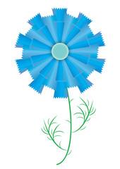 Single Cornoflower. The meadow whole plant cornflower. Vector format.