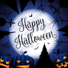 Happy Halloween Hintergrund Karte mit Kürbissen, Mond und Bäumen
