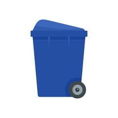 Blue garbage box icon. Flat illustration of blue garbage box vector icon for web design