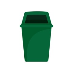 Green park garbage can icon. Flat illustration of green park garbage can vector icon for web design