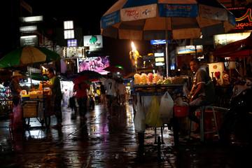 Street vendors sell food in Khaosan Road in Bangkok