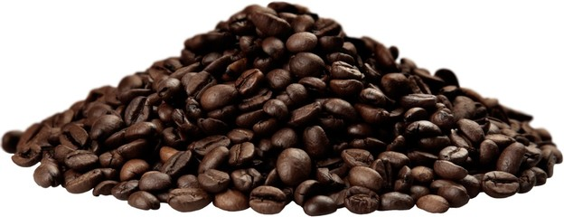 Pile of coffee beans - isolated image