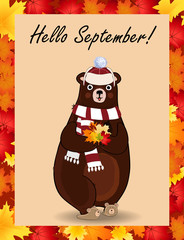 Hello september postcard with cute bear in hat and scarf holding fallen leaves