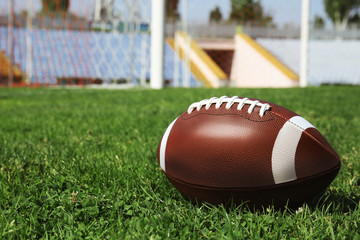 Ball on green field grass and space for text against net. American football match