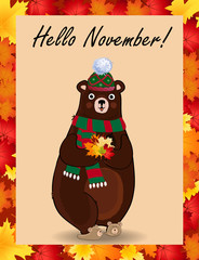 Hello november poster with cute bear in hat and scarf holding fallen leaves