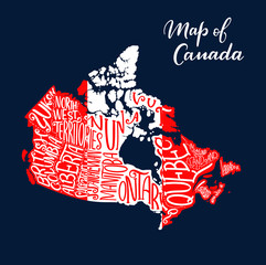 Canada map province and territory lettering