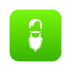 Male avatar with beard icon digital green for any design isolated on white vector illustration