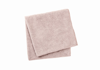 Grey towel isolated on white background. top view