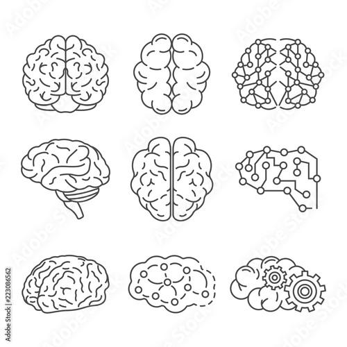 Memory brain icon set  Outline set of memory brain vector