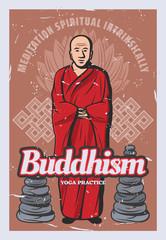 Buddhism religion, stones, monk and lotus