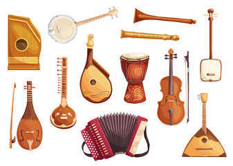 Musical folk instruments watercolor icons
