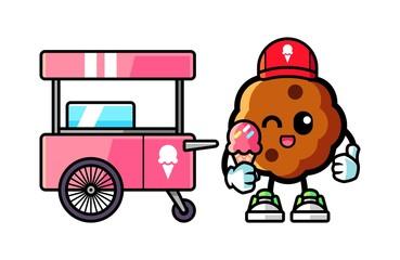 Cookie hold ice cream mascot cartoon illustration
