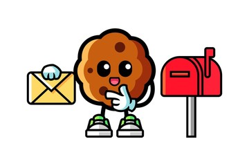 Cookie holding a letter mascot cartoon illustration