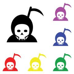 Element of Hallowen Grim Reaper in multi colored icons. Premium quality graphic design icon. Simple icon for websites, web design, mobile app, info graphics