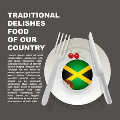 Traditional delicious food of Jamaica country poster. American national dessert. Vector illustration cake with national flag of Jamaica