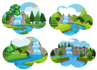 Set of waterfall nature scenes