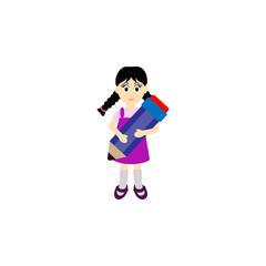 Child with pencil in hand Vector. Cartoon. Isolated art