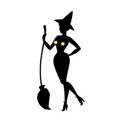 Black silhouette of witch in hat, halloween.