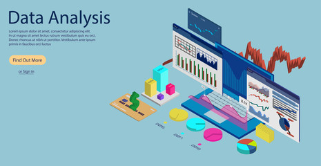 Online Statistics and Data Analytics Concept Banner, Landing page template. Laptop with Data Analysis and Statistics, in 3D isometric. Concept of Data Analysis for website and mobile website.