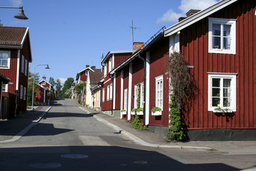Red houses in small city in Sweden