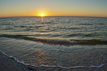 Beautiful sunset over the ocean at Sanibel Beach Florida