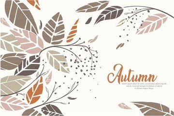 Autumn colorful background with various leaves in transparent overlay style