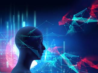 silhouette of virtual human on digital world map 3dillustration