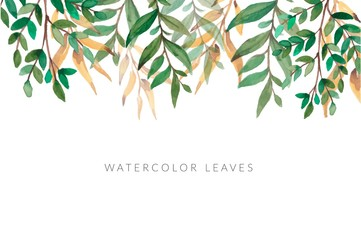 Watercolor Green Leaf Background