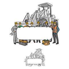 male construction worker holding blank billboard with gray excavator at the back vector illustration sketch doodle hand drawn with black lines isolated on white background