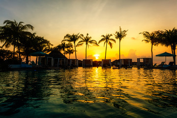 Beautiful tropical sunset at a swimming pool side with palm trees silhouettes and last rays of sun