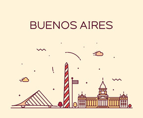 Fototapete - Buenos Aires skyline, Argentina vector linear city