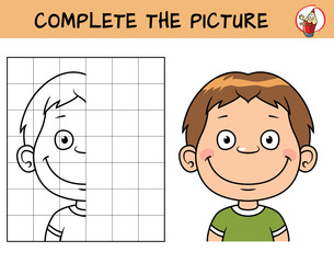 Kid boy's face. Copy the picture. Coloring book. Educational game for children. Cartoon vector illustration