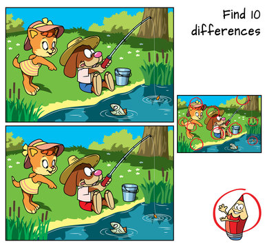 Cute kitty and funny little dog are fishing. Find 10 differences. Educational game for children. Cartoon vector illustration