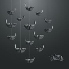 Happy Diwali. Hanging paper graphic of Diya lantern. Indian festival of lights.